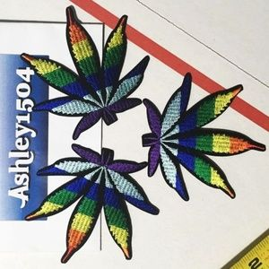 Other - NEW COLORFUL WEED LEAF PATCHES (3) MARIJUANA